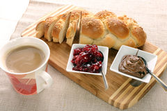 Sweet bread with cherry jam, and chocolate. Royalty Free Stock Photography