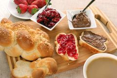 Sweet bread with cherry jam, and chocolate. Royalty Free Stock Photos