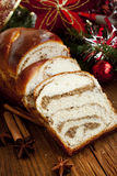 Sweet Bread on Christmas Decorated Background Stock Image
