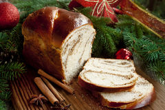 Sweet Bread on Christmas Decorated Background Stock Photography