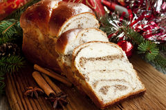 Sweet Bread on Christmas Decorated Background Stock Photo