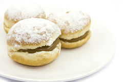 Sweet bread with cream. And sugar royalty free stock photography