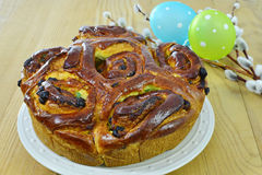 Sweet bread and Easter eggs stock photos