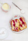 Sweet bread pudding with cherry Stock Photos