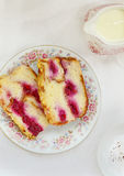 Sweet bread pudding with cherry Royalty Free Stock Photos