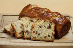 Sweet bread with raisins Royalty Free Stock Images