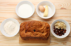 Sweet bread  with raisins and almonds,flour, butter,egg, milk Stock Photography