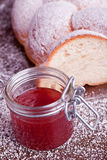 Sweet bread with red strawberry jam Stock Photography