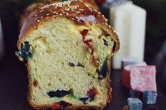 Sweet bread with turkish delight Royalty Free Stock Images