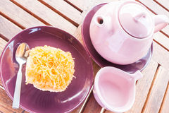 Sweet break set of hot tea and cup cake Stock Images