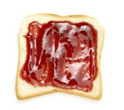 Sweet breakfast 1. Close up of toast bread and marmalade on white background  with clipping path Royalty Free Stock Photography