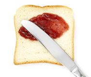 Sweet breakfast 4. Close up of toast bread and marmalade on white background  with clipping path Royalty Free Stock Photos