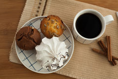Sweet breakfast in bed with coffee Stock Photography