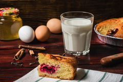 Sweet breakfast with cherry cake and glass of milk Royalty Free Stock Images