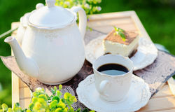 Sweet breakfast - a cup of coffee with cake Royalty Free Stock Images