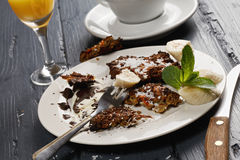 Sweet breakfast leftovers closeup Royalty Free Stock Photography