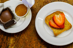 Sweet breakfast. Overhead view of a sweet brekfast food Royalty Free Stock Photos
