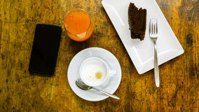 Sweet breakfast. Overhead view of breakfast on a old wooden table Royalty Free Stock Photography