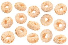 Sweet brekfast cereal rings collection. Sweet brekfast cereal rings set coleup isolated on white stock photos