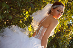 Sweet bride in park Royalty Free Stock Photography