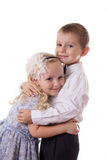 Sweet brother and sister hugging Royalty Free Stock Image