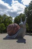 Sweet Brown Snail sculpture in Munich, 2015 Stock Photo