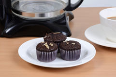 Sweet brownie with hot coffee. Stock Images