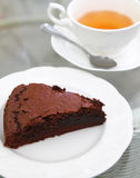 Sweet Brownie With Hot Tea Royalty Free Stock Images