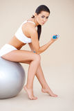Sweet brunette doing fitness exercises Stock Photography