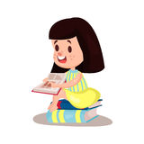 Sweet brunette girl reading a book sitting on a pile of books, education and knowledge concept, colorful character  Illustra Royalty Free Stock Photos