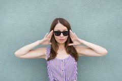 Sweet brunette model stock images
