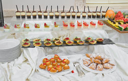 Sweet Buffet. Table set up for a wedding sweet buffet Stock Images
