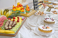 Sweet Buffet. Table set up for a wedding sweet buffet Royalty Free Stock Photography
