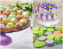 Sweet buffet set collage. Delicious sweet buffet with profitrole macarons and cake-pops. high resolution collage Stock Image