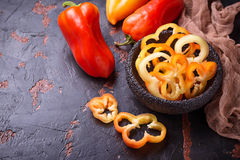 Sweet  bulgarian pepper on dark rusty background Stock Images