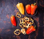 Sweet  bulgarian pepper on dark rusty background Royalty Free Stock Photo