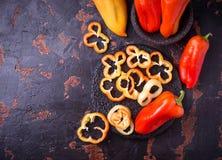 Sweet  bulgarian pepper on dark rusty background Stock Photo