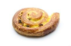 Sweet bun. Bun with raisins isolated on white background Stock Photos