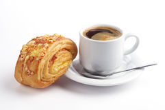 Sweet bun with cheese and coffee Royalty Free Stock Image