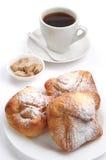 Sweet bun and cup of coffee Stock Photo