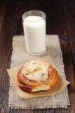 Sweet bun and milk Royalty Free Stock Photo