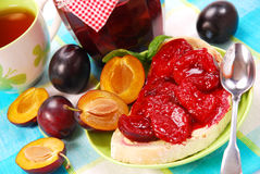 Sweet bun with plum confiture Royalty Free Stock Photo