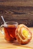Sweet bun and tea Stock Photos
