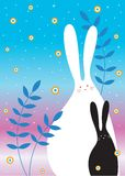 Sweet bunny garden. A couple of loving bunny in the gadren with star Stock Images