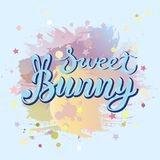 Sweet Bunny text isolated on pastel color background. Handwritten lettering Bunny as logo for baby shop, baby shower. Template for First Birthday, party Stock Image