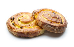 Sweet buns. Buns with raisins isolated on white background royalty free stock photo