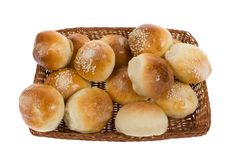 Sweet buns in basket Royalty Free Stock Images