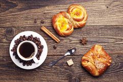 Sweet buns and coffee Stock Photos