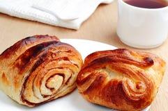 Sweet buns and tea closeup Stock Photo