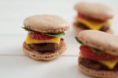 Sweet Burger Macarons Royalty Free Stock Photos